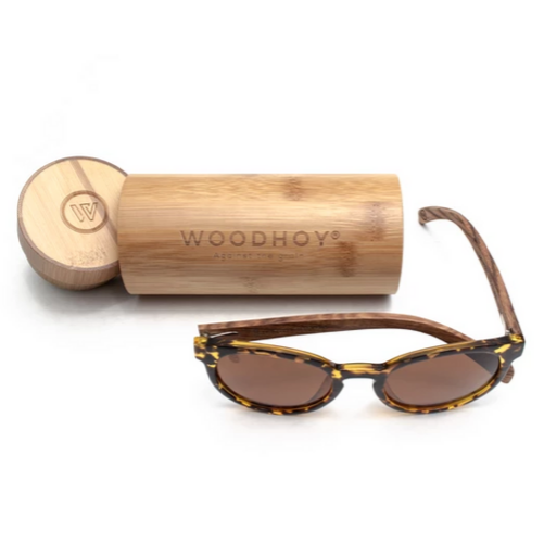 Tortuga by Woodhoy - Eco friendly wooden sunglasses - eco friendly surf shop - zebra wood sunglasses with round bamboo carry case