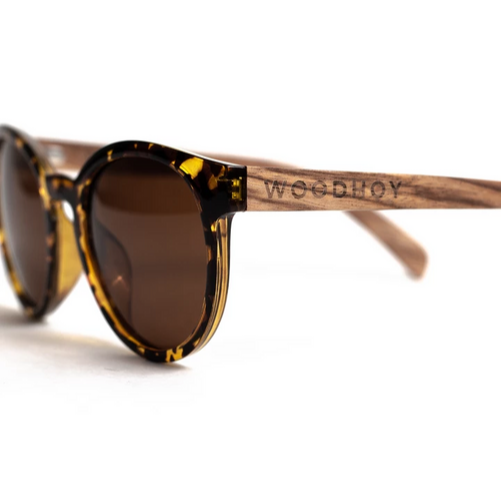 Tortuga by Woodhoy - Eco friendly wooden sunglasses - eco friendly surf shop - zebra wood sunglasses side on view
