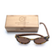 Tortuga by Woodhoy - Eco friendly wooden sunglasses - eco friendly surf shop - zebra wood sunglasses with square bamboo carry case