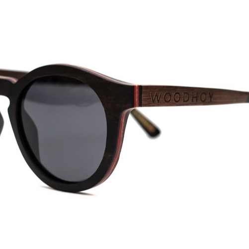 Baronetti by Woodhoy - Eco friendly wooden sunglasses - eco friendly surf shop - Ebony wood sunglasses side on view