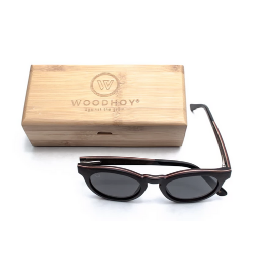Baronetti by Woodhoy - Eco friendly wooden sunglasses - eco friendly surf shop - ebony wood sunglasses with square carry case