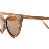 Ella by Woodhoy - Eco friendly wooden sunglasses - eco friendly surf shop - Zebra wood sunglasses side on view