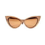 Ella by Woodhoy - Eco friendly wooden sunglasses - eco friendly surf shop - Zebra wood sunglasses front on view