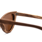 Ella by Woodhoy - Eco friendly wooden sunglasses - eco friendly surf shop - Zebra wood sunglasses inside frame view