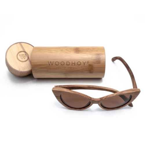 Ella by Woodhoy - Eco friendly wooden sunglasses - eco friendly surf shop - Zebra wood sunglasses with round carry case