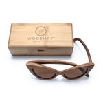 Ella by Woodhoy - Eco friendly wooden sunglasses - Eco friendly surf shop - Zebra wood sunglasses with square carry case