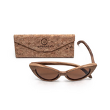 Ella by Woodhoy - Eco friendly wooden sunglasses - Eco friendly surf shop - Zebra wood sunglasses with foldable cork carry case