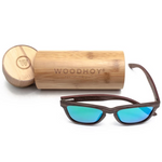 Valentino by Woodhoy - Eco friendly wooden sunglasses - eco friendly surf shop - wood sunglasses with round carry case