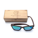 Valentino by Woodhoy - Eco friendly wooden sunglasses - eco friendly surf shop - wood sunglasses with square carry case