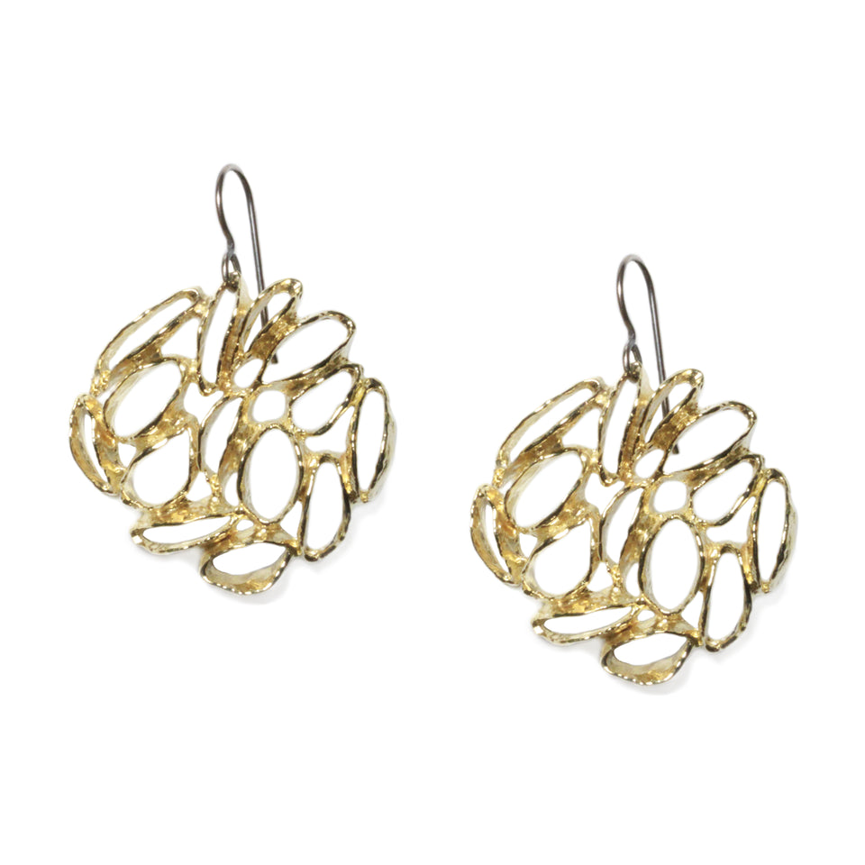 Banksia Medallion Earrings - Yellow Bronze