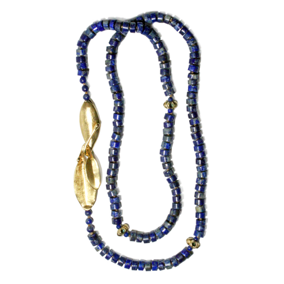 Lapis & Callistemon Necklace with Leaves Clasp