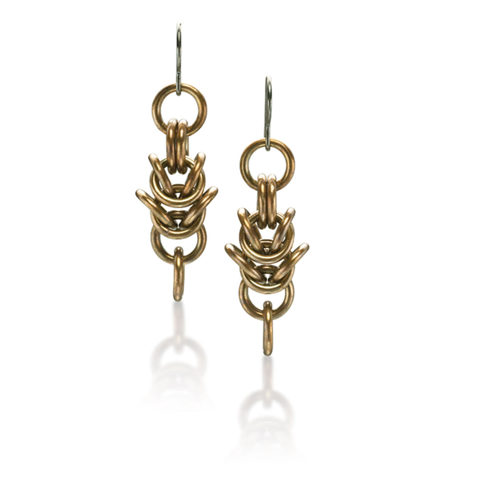 Box Chain Earrings - Oxidized Brass