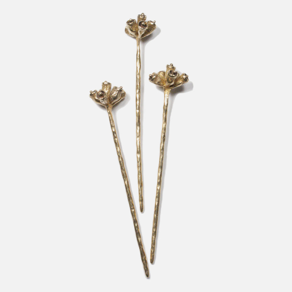 Bell Pod Hair Stick - Brass