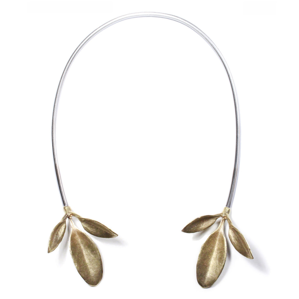 Leaves Neck Cuff - Brass