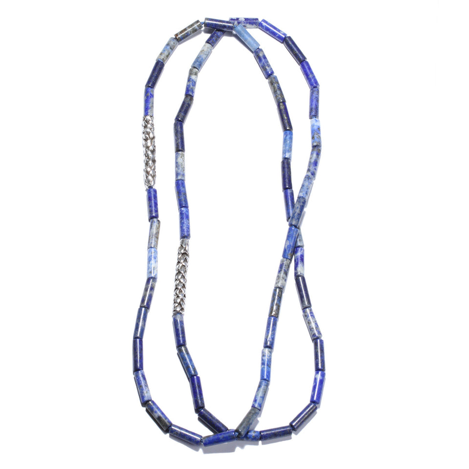 Lapis & Silver Araucaria Bead Necklace