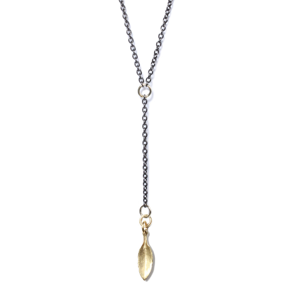 Long Leaf Necklace - Brass or Silver