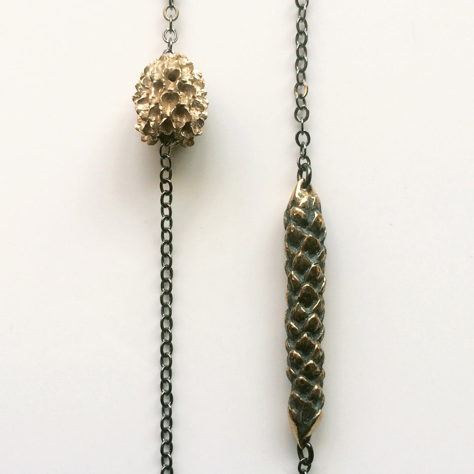 Araucaria Pod Necklace - Bronze or Silver