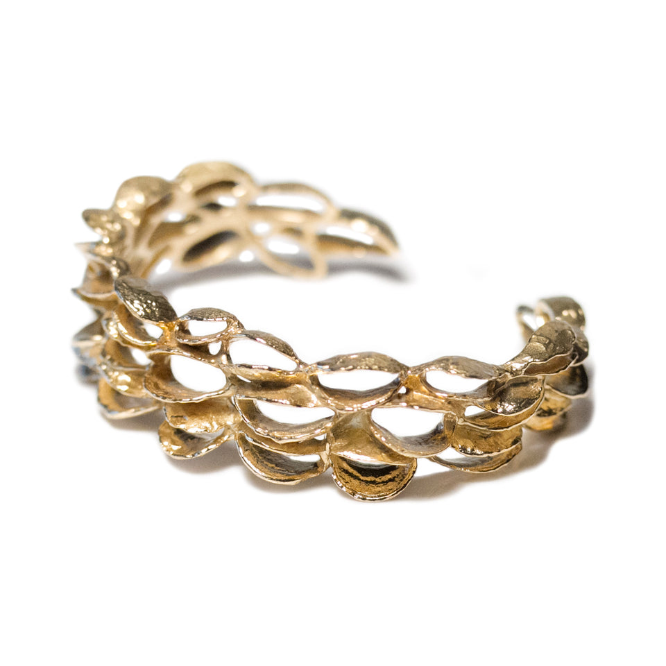 Small Banksia Cuff Bracelet - Yellow Bronze
