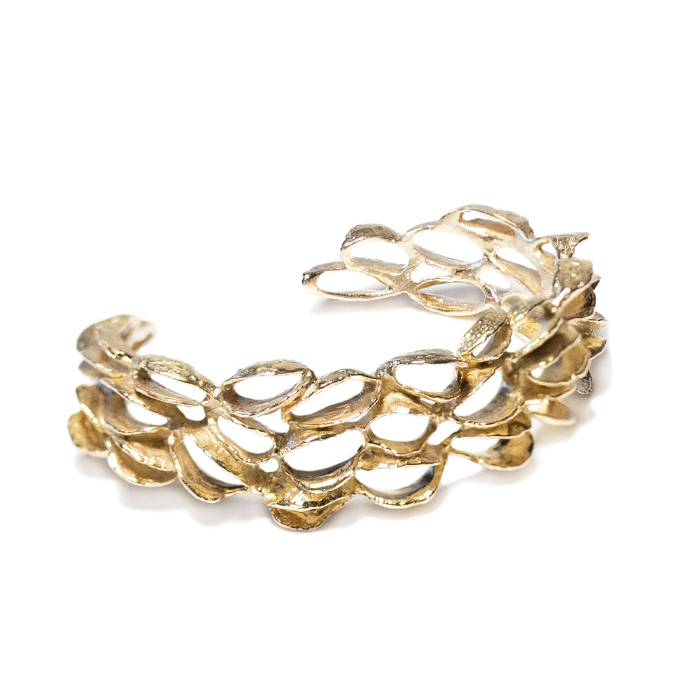 Small Banksia Cuff Bracelet - Gold