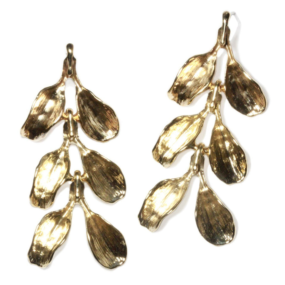 Dyad Three Tier Earrings - Yellow Bronze