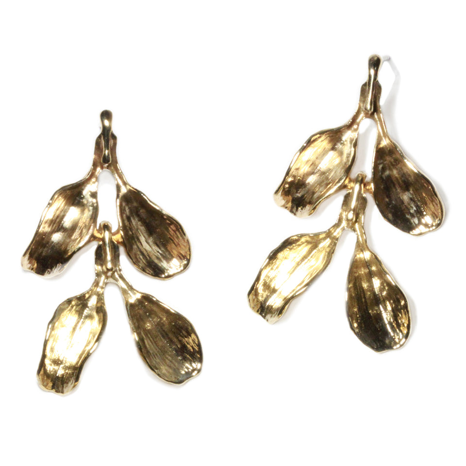 Dyad Two Tier Earrings - Yellow Bronze