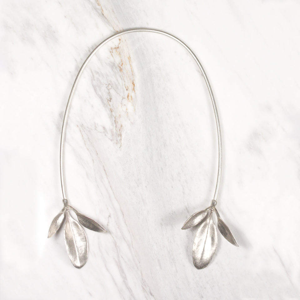 Leaves Neck Cuff - Silver
