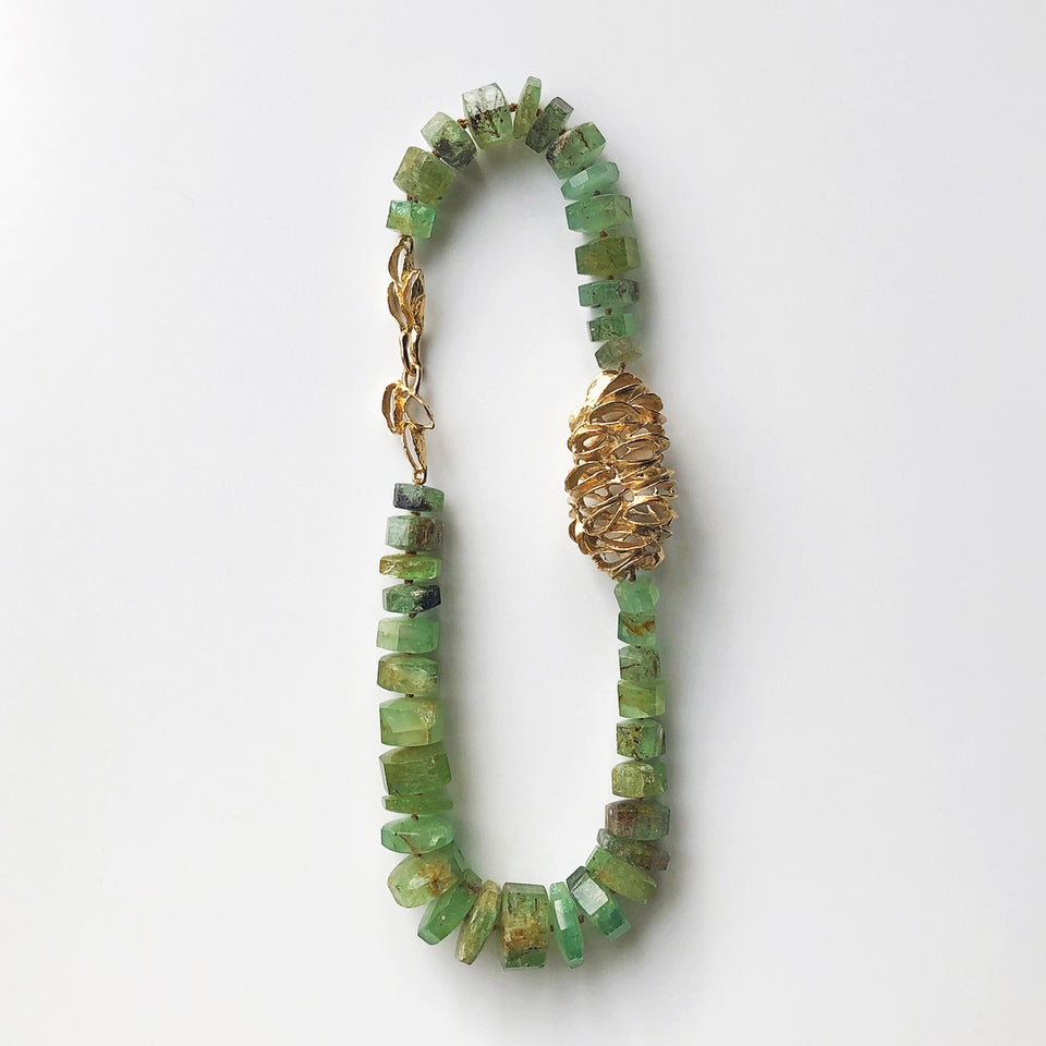 Beryl Emerald & Gold Banksia Egg Bead Necklace