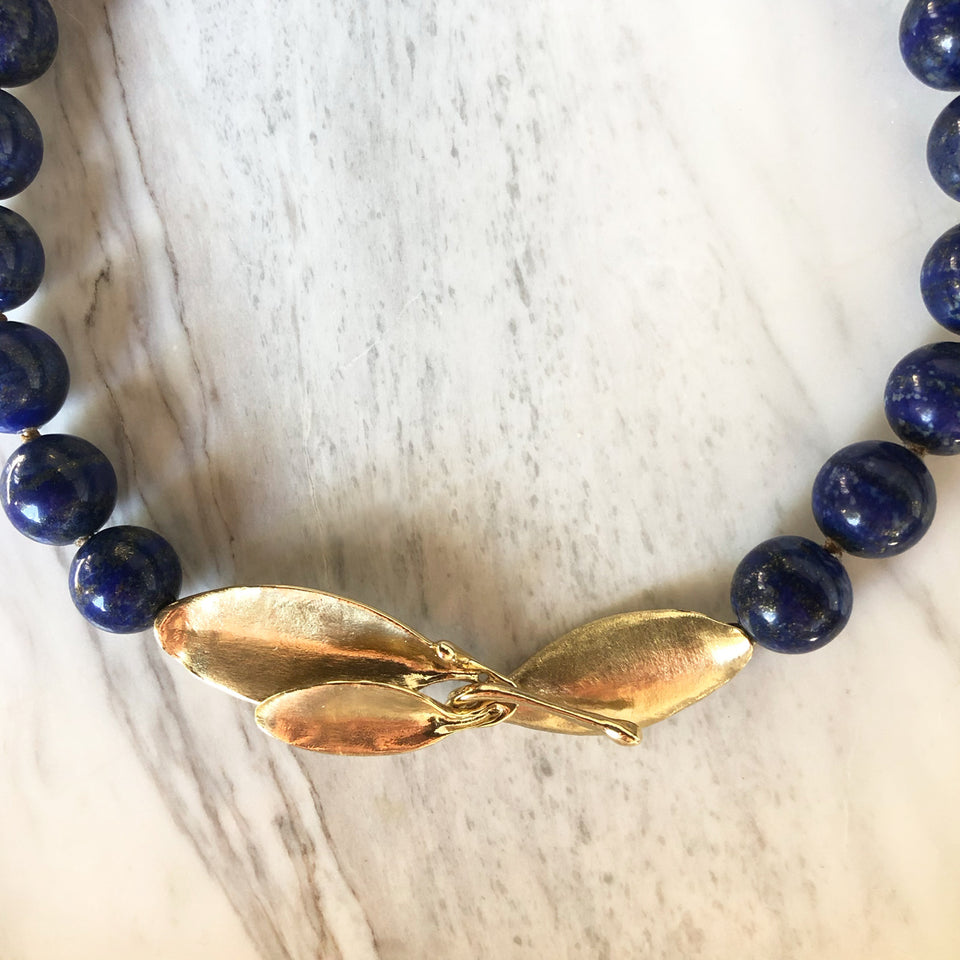 Lapis Collar with Leaves Clasp