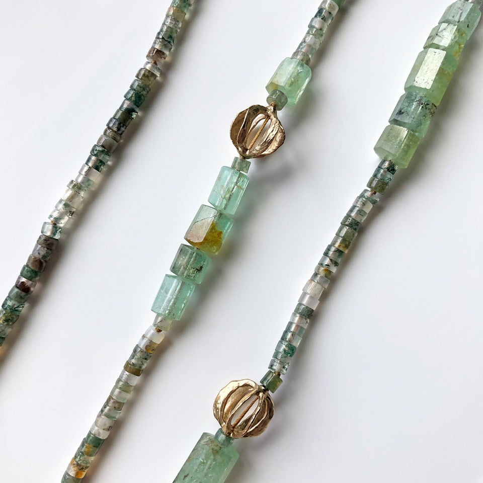 Moss Agate & Beryl Emerald Necklace