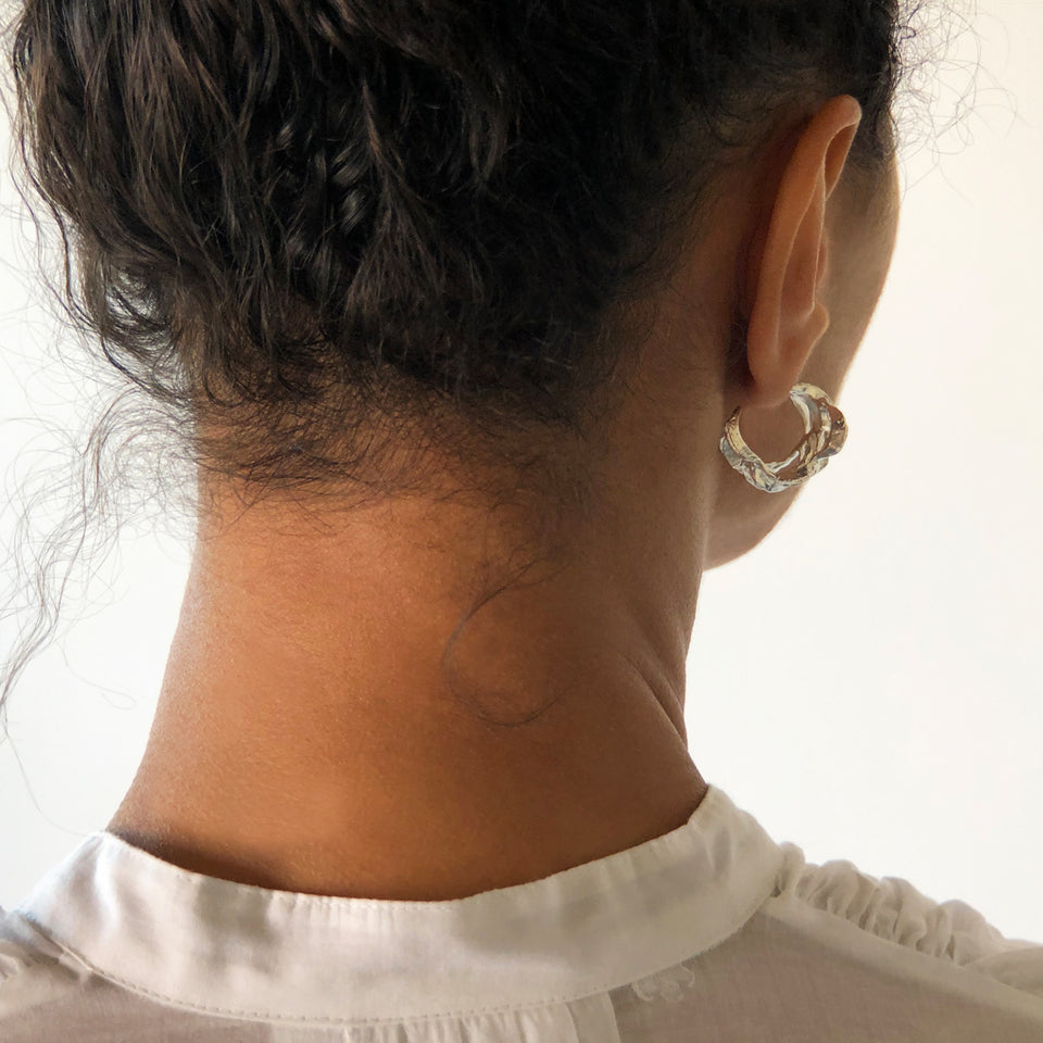 Banksia Hoop Earrings - Silver
