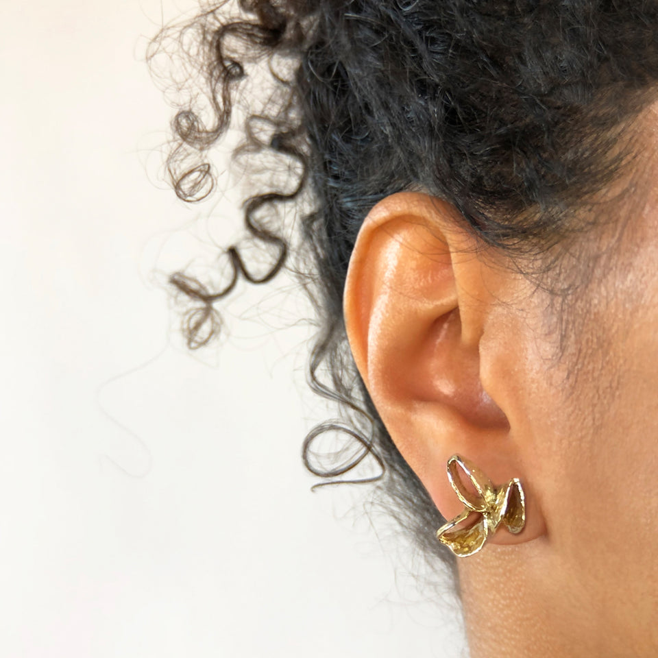 Banksia Pod Earrings - Brass