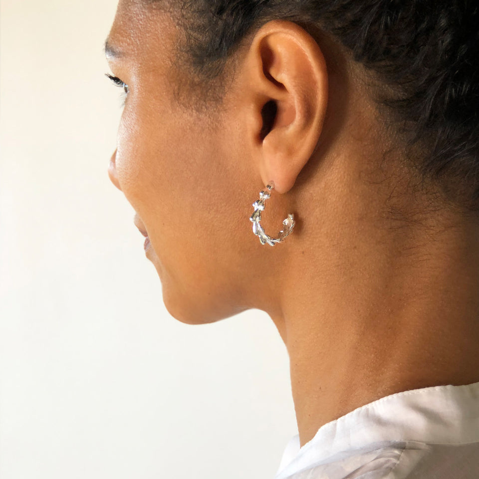 Willow Hoop Earrings - Silver