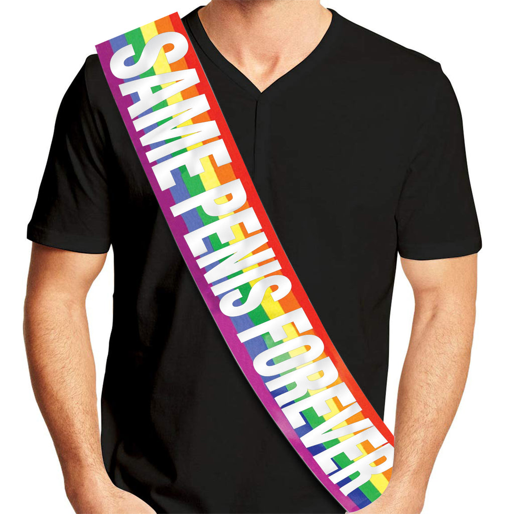 Gay Groom Rainbow Sash - Same Vagina Forever