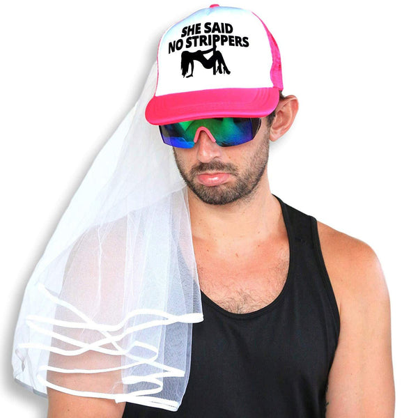 Bachelor Party Groom Hat And Veil - She Said No Strippers