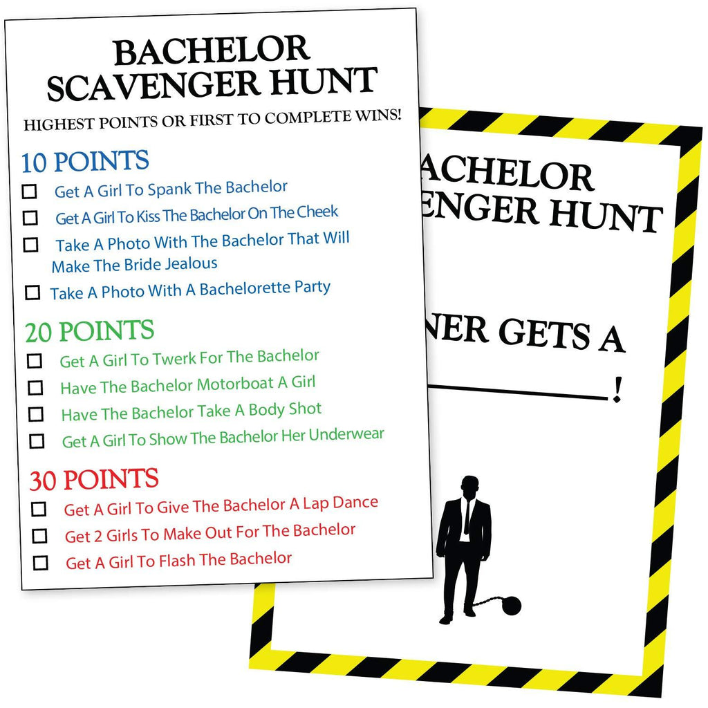 Bachelor Party Scavenger Hunt - Funny Bachelor Party Ideas, Supplies, Gifts, Decorations And Favors - Drinking Game