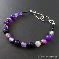 Purple gemstone beaded bracelet by katie gowers design