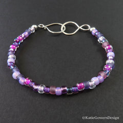 Magenta and Purple Beaded Bracelet by Katie Gowers Design