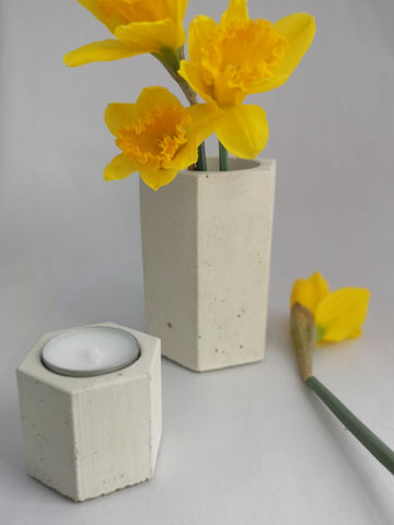 Concrete vase and candle from Gem's Concrete Gems