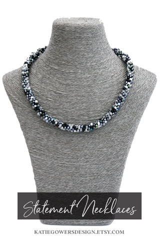 Black white and silver statement beaded necklace