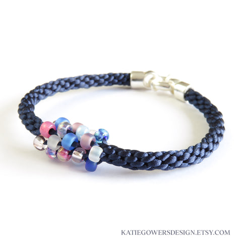 Kumihimo Braided bracelet with beads in pink white and blue