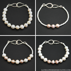 Freshwater pearl bracelets handmade in the uk by katie gowers design