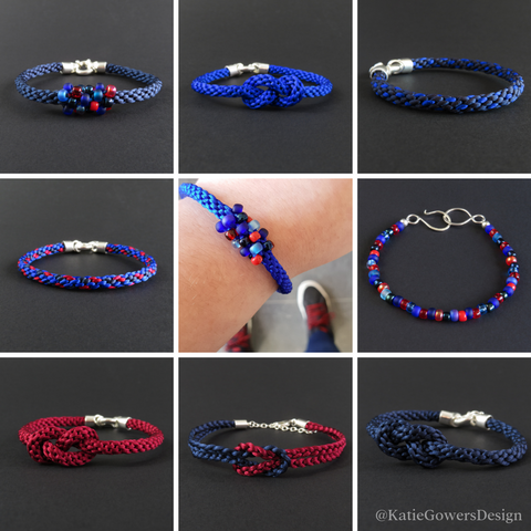 Mix and match red and blue bracelets