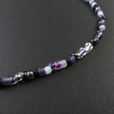 Beaded Necklace - Purple, Black and White