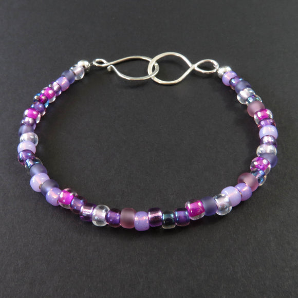 Beaded Bracelet - Purple and Magenta