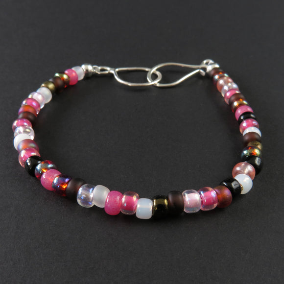 Beaded Bracelet - Pink, Black and Bronze