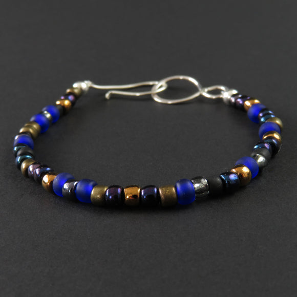 Beaded Bracelet - Blue and Bronze