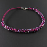 Braided Necklace - Purple and Magenta on Pink (Spiral)