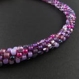 Braided necklace - Purple and Magenta (full)
