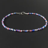 Beaded Necklace - Pink, White and Blue