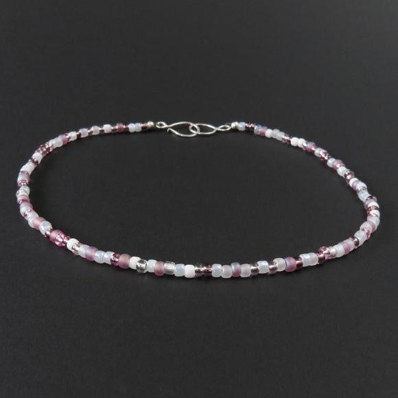 Beaded Necklace - Pink and White
